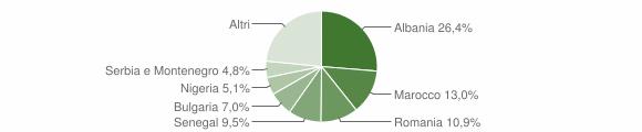 Grafico cittadinanza stranieri - Meldola 2007
