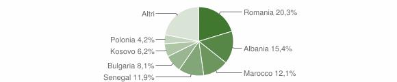 Grafico cittadinanza stranieri - Meldola 2017