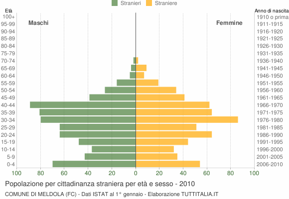 Grafico cittadini stranieri - Meldola 2010