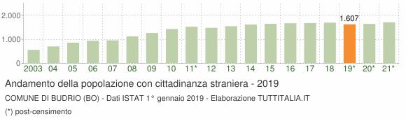 Grafico andamento popolazione stranieri Comune di Budrio (BO)