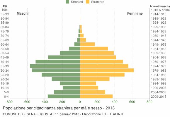 Grafico cittadini stranieri - Cesena 2013