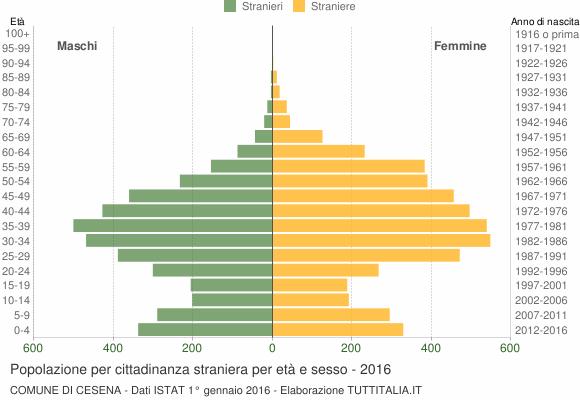 Grafico cittadini stranieri - Cesena 2016