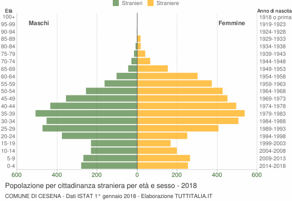 Grafico cittadini stranieri - Cesena 2018