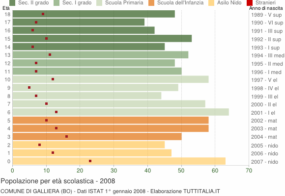 Grafico Popolazione in età scolastica - Galliera 2008