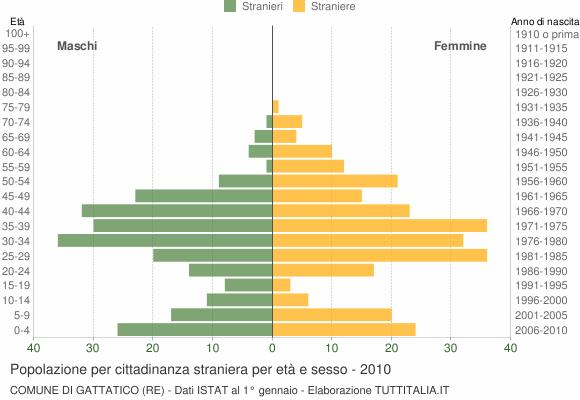 Grafico cittadini stranieri - Gattatico 2010
