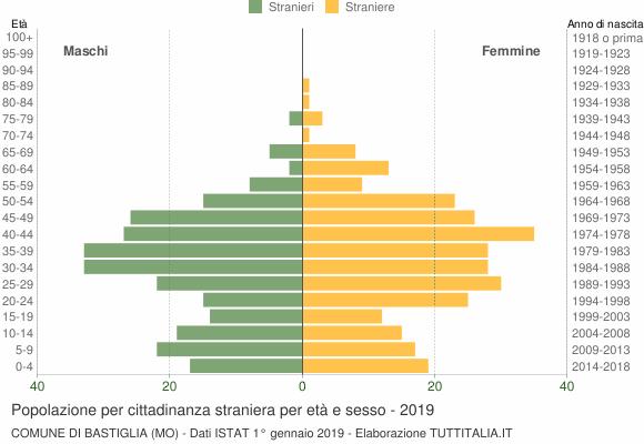 Grafico cittadini stranieri - Bastiglia 2019