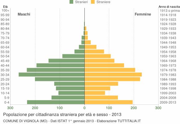 Grafico cittadini stranieri - Vignola 2013