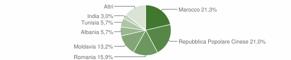 Grafico cittadinanza stranieri - Mirandola 2011