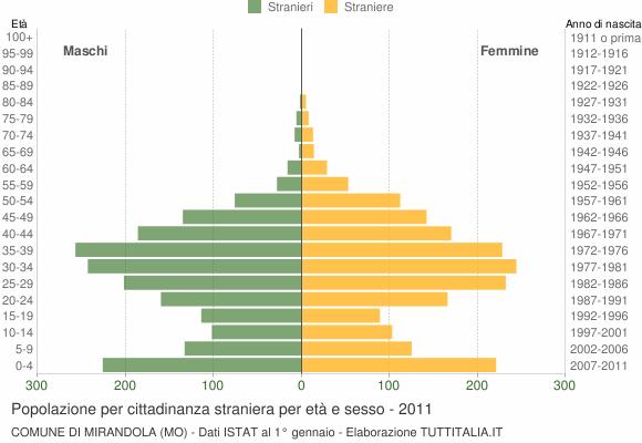 Grafico cittadini stranieri - Mirandola 2011