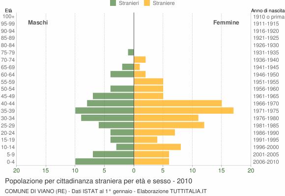 Grafico cittadini stranieri - Viano 2010
