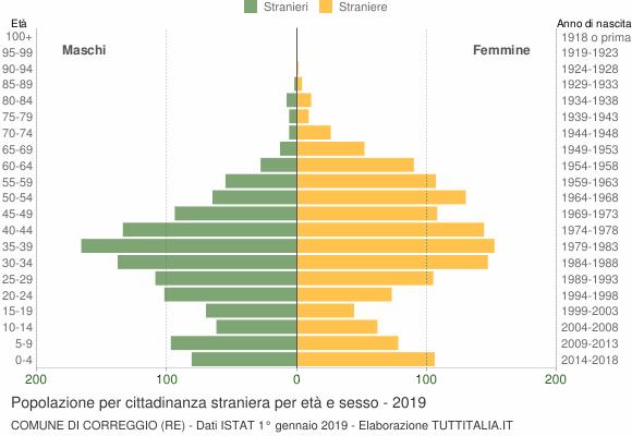 Grafico cittadini stranieri - Correggio 2019