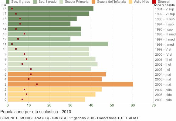 Grafico Popolazione in età scolastica - Modigliana 2010