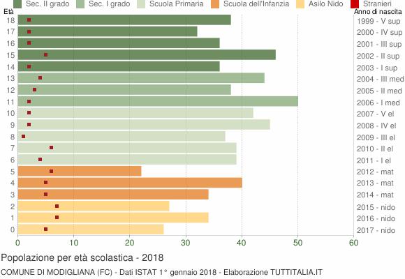 Grafico Popolazione in età scolastica - Modigliana 2018