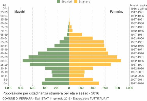 Grafico cittadini stranieri - Ferrara 2016