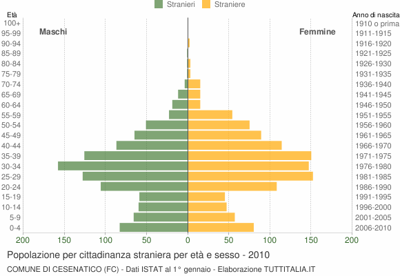 Grafico cittadini stranieri - Cesenatico 2010