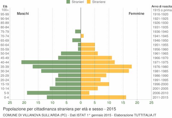 Grafico cittadini stranieri - Villanova sull'Arda 2015