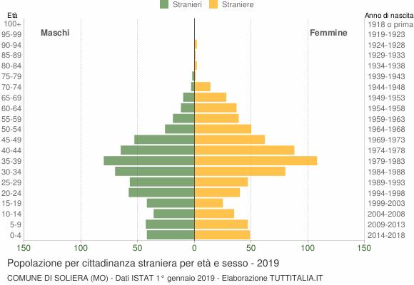 Grafico cittadini stranieri - Soliera 2019