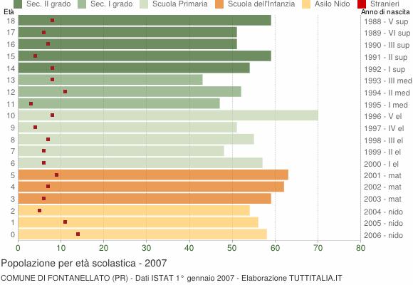 Grafico Popolazione in età scolastica - Fontanellato 2007