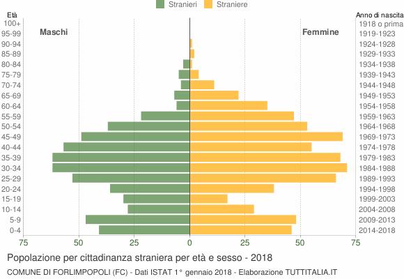 Grafico cittadini stranieri - Forlimpopoli 2018