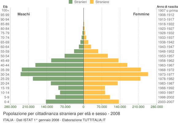 Grafico cittadini stranieri - 2008
