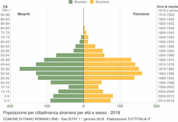 Grafico cittadini stranieri - Fiano Romano 2018