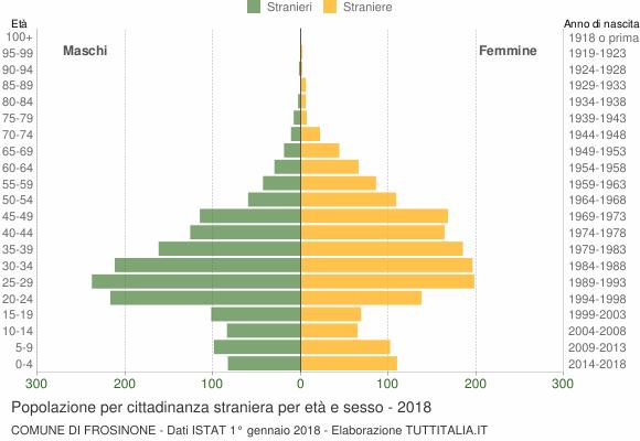 Grafico cittadini stranieri - Frosinone 2018