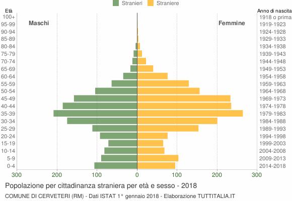 Grafico cittadini stranieri - Cerveteri 2018