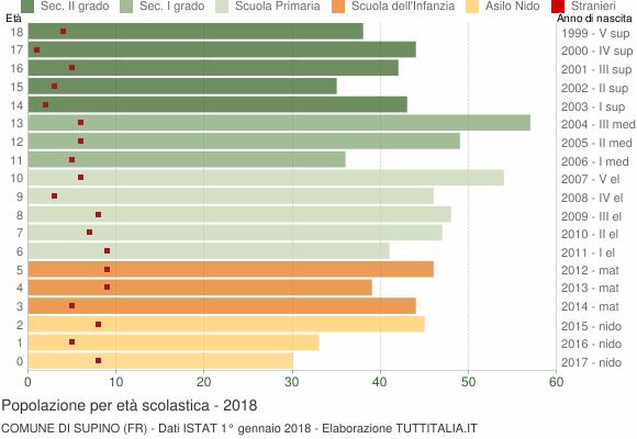 Grafico Popolazione in età scolastica - Supino 2018
