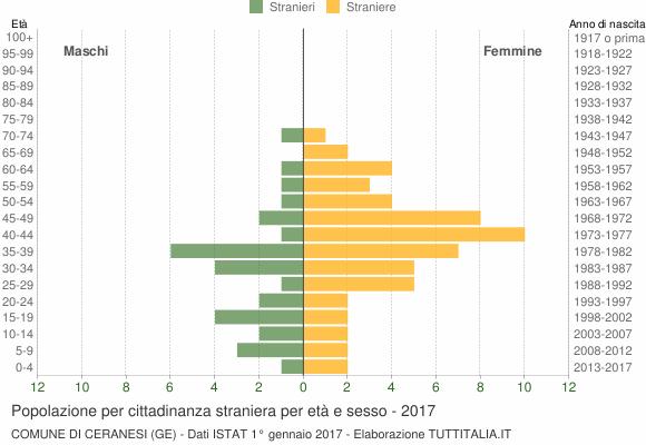 Grafico cittadini stranieri - Ceranesi 2017