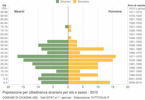 Grafico cittadini stranieri - Cicagna 2010