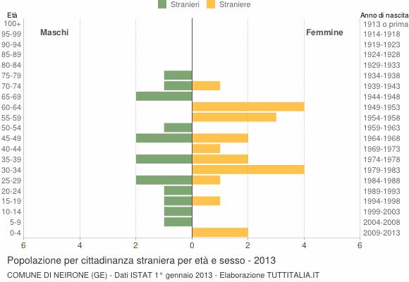 Grafico cittadini stranieri - Neirone 2013
