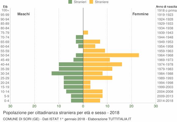 Grafico cittadini stranieri - Sori 2018