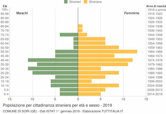 Grafico cittadini stranieri - Sori 2019