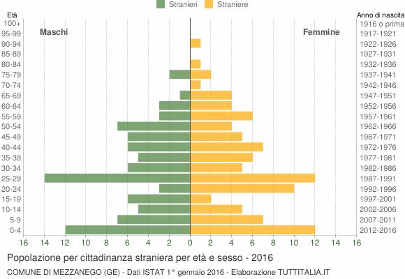 Grafico cittadini stranieri - Mezzanego 2016