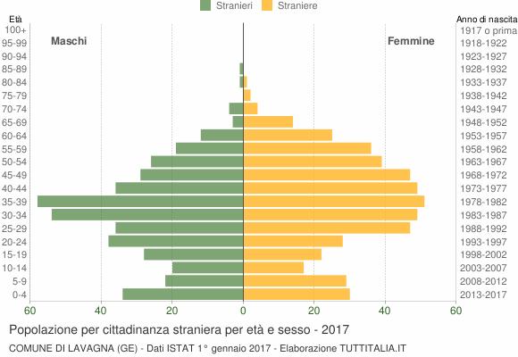 Grafico cittadini stranieri - Lavagna 2017