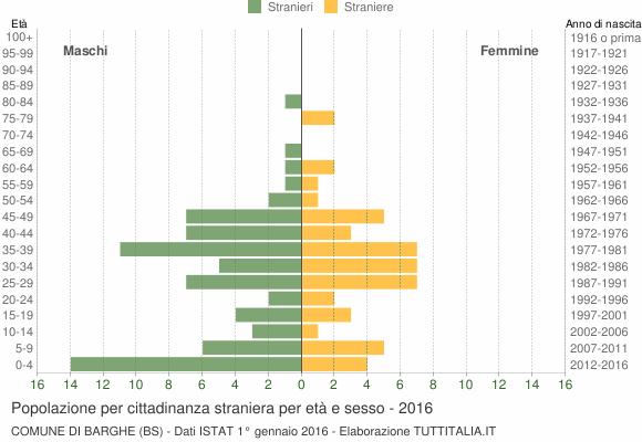 Grafico cittadini stranieri - Barghe 2016