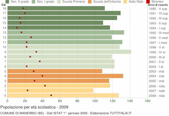 Grafico Popolazione in età scolastica - Manerbio 2009