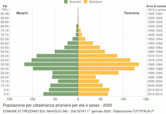 Grafico cittadini stranieri - Trezzano sul Naviglio 2020