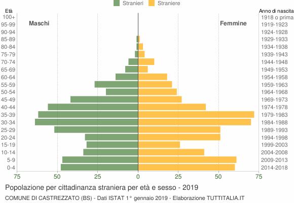 Grafico cittadini stranieri - Castrezzato 2019