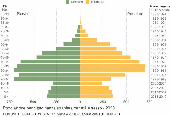 Grafico cittadini stranieri - Como 2020