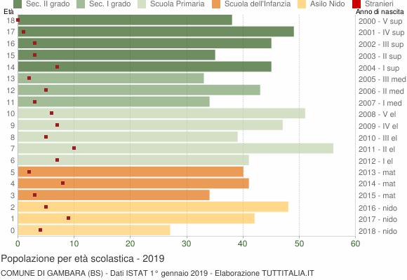 Grafico Popolazione in età scolastica - Gambara 2019