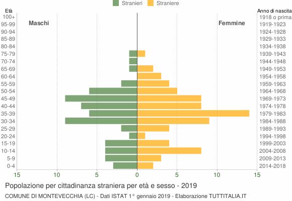 Grafico cittadini stranieri - Montevecchia 2019