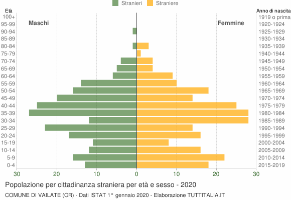 Grafico cittadini stranieri - Vailate 2020