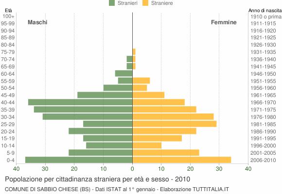 Grafico cittadini stranieri - Sabbio Chiese 2010