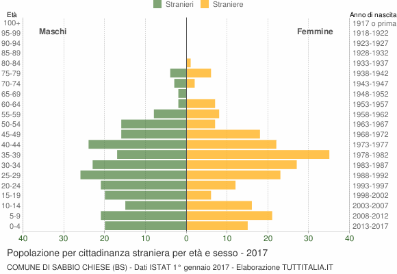 Grafico cittadini stranieri - Sabbio Chiese 2017