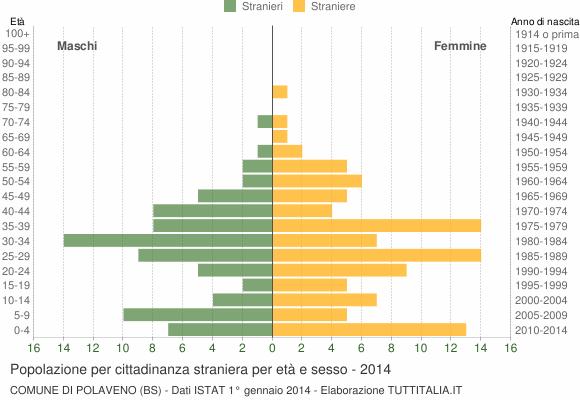 Grafico cittadini stranieri - Polaveno 2014