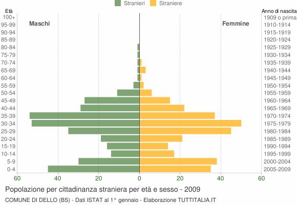 Grafico cittadini stranieri - Dello 2009