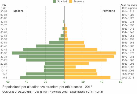 Grafico cittadini stranieri - Dello 2013