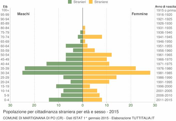 Grafico cittadini stranieri - Martignana di Po 2015