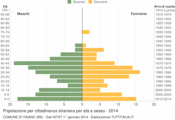 Grafico cittadini stranieri - Visano 2014